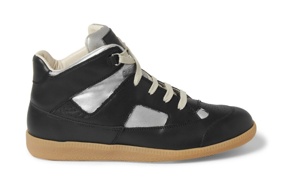Image of Maison Martin Margiela 2012 Painted Paneled-Leather High Top Sneaker