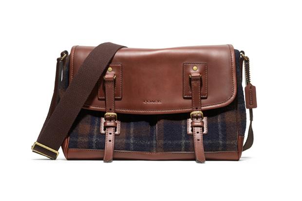 Image of Woolrich x Coach Bleecker Plaid Messenger Bag