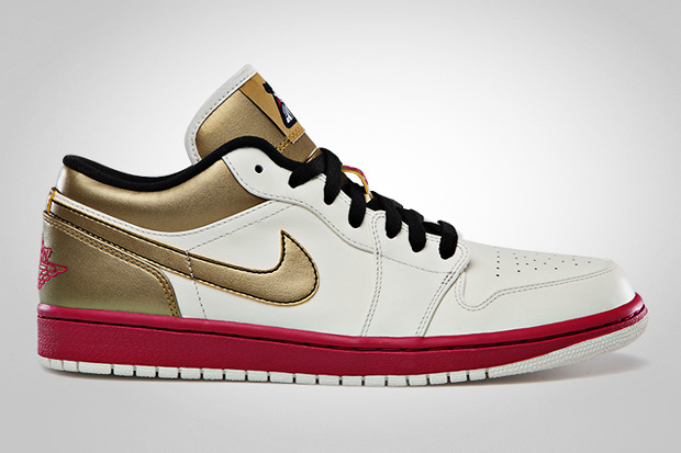 Image of Air Jordan 1 Low Sail/Sport Fuschia - Metallic Gold - Black