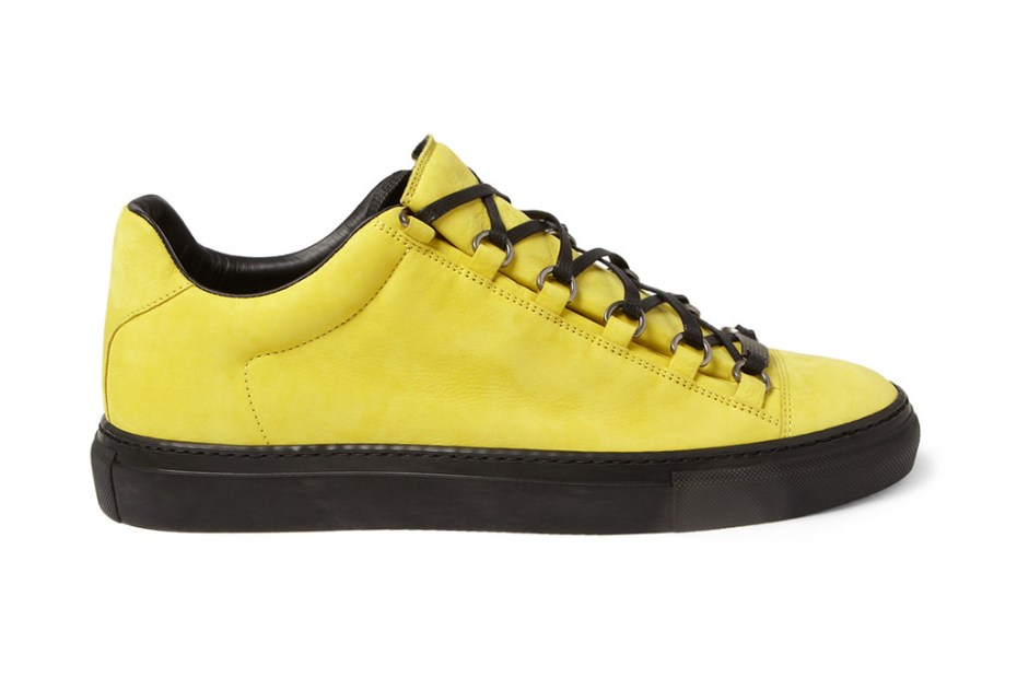 Image of Balenciaga Arena Creased Yellow Leather Sneakers