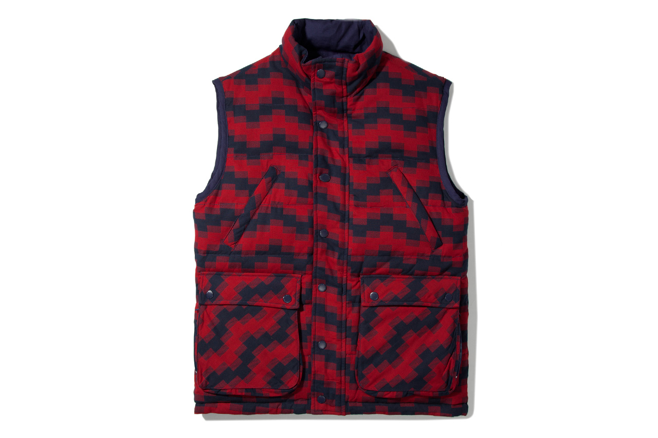 Image of Billionaire Boys Club Navy & Red Plaid Reversible Utility Vest