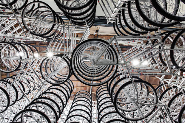 "Image of Ai WeiWei's ""Stacked"" Installation Features 760 Bikes"