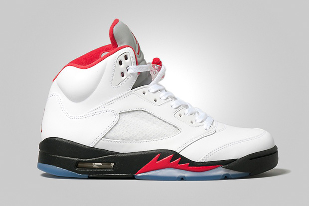 Image of Air Jordan 5 Retro White/Fire Red-Black