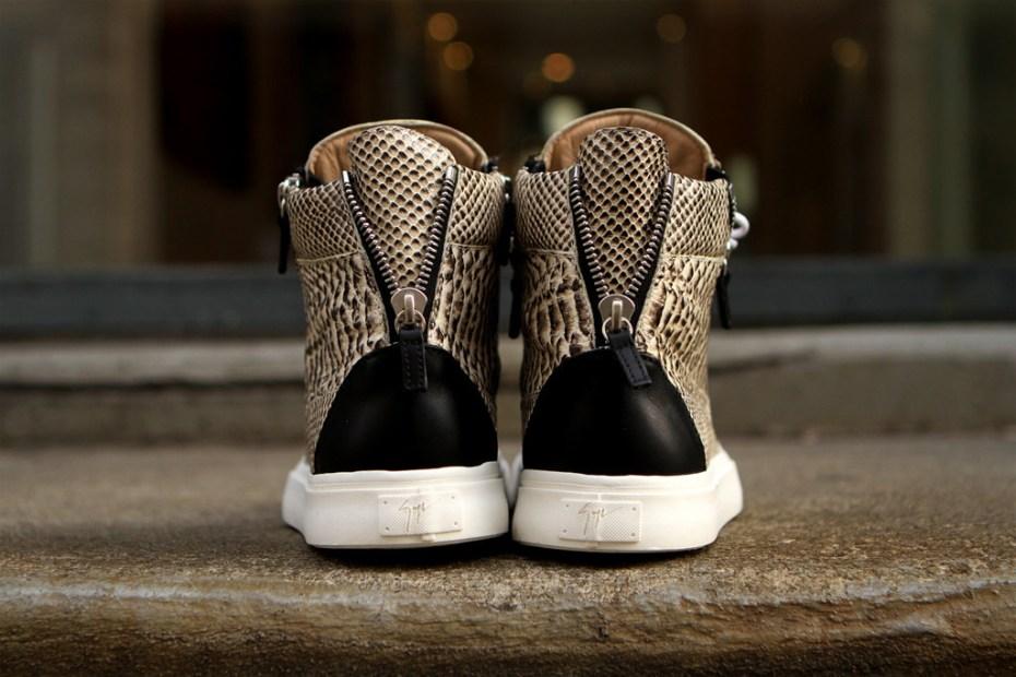 "Image of Giuseppe Zanotti ""Snakeskin"" Hi Sneaker"