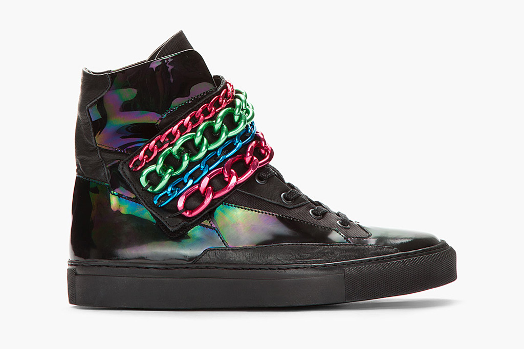 Image of Raf Simons Black Holographic Tricolor Chained Velcro Sneaker