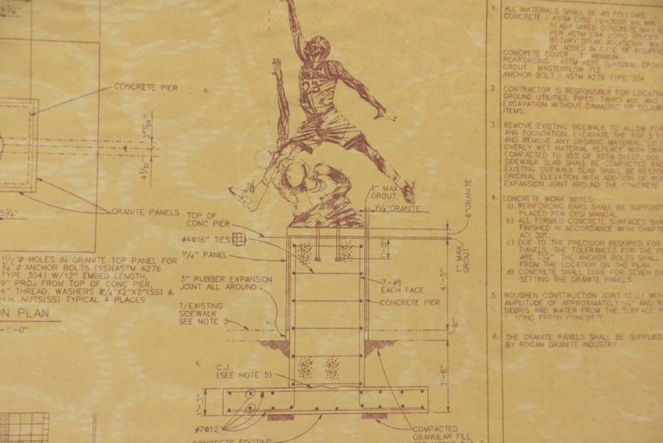 Image of The United Center Michael Jordan Statue Blueprint