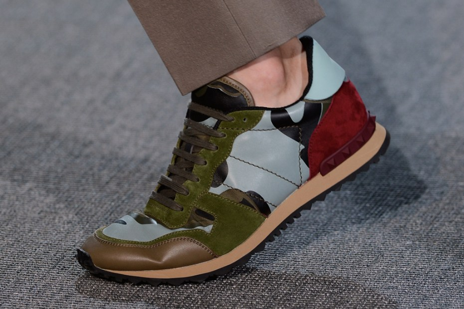 Image of Valentino 2013 Spring/Summer Panelled Leather and Suede Sneakers