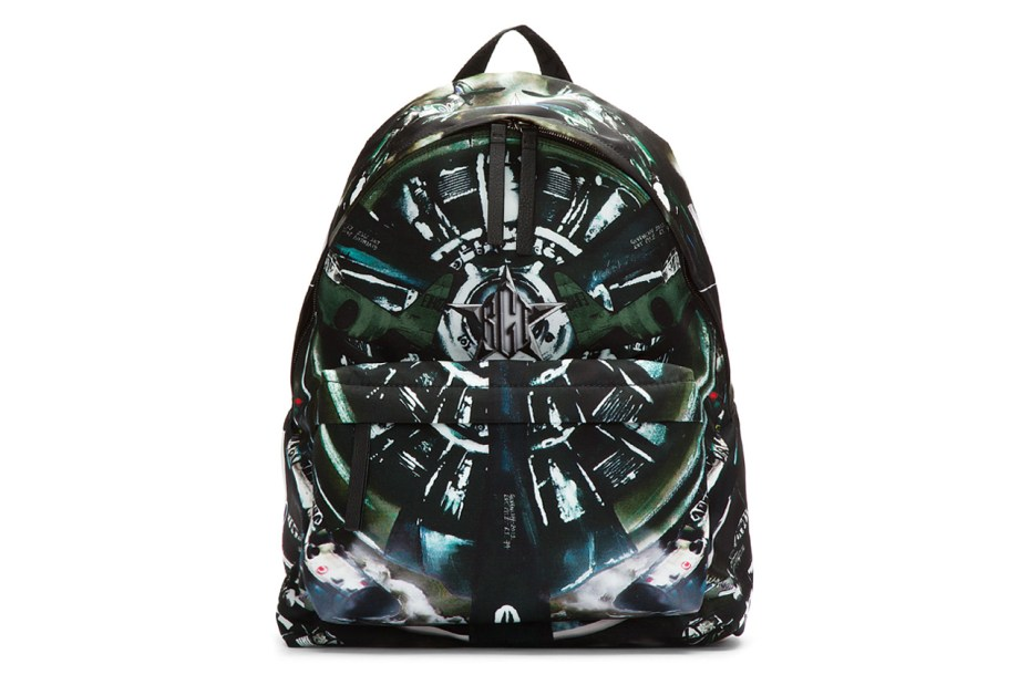 Image of Givenchy Black Leather Trimmed Airplane Print Backpack