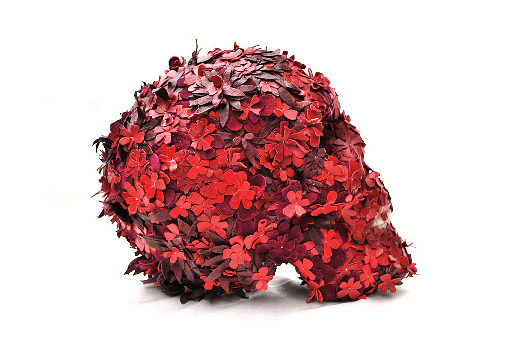 Image of Jacky Tsai Floral Skullptures Made from Leather