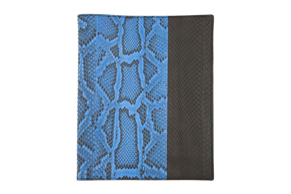 Image of Lanvin Black and Blue Pythonskin iPad Case