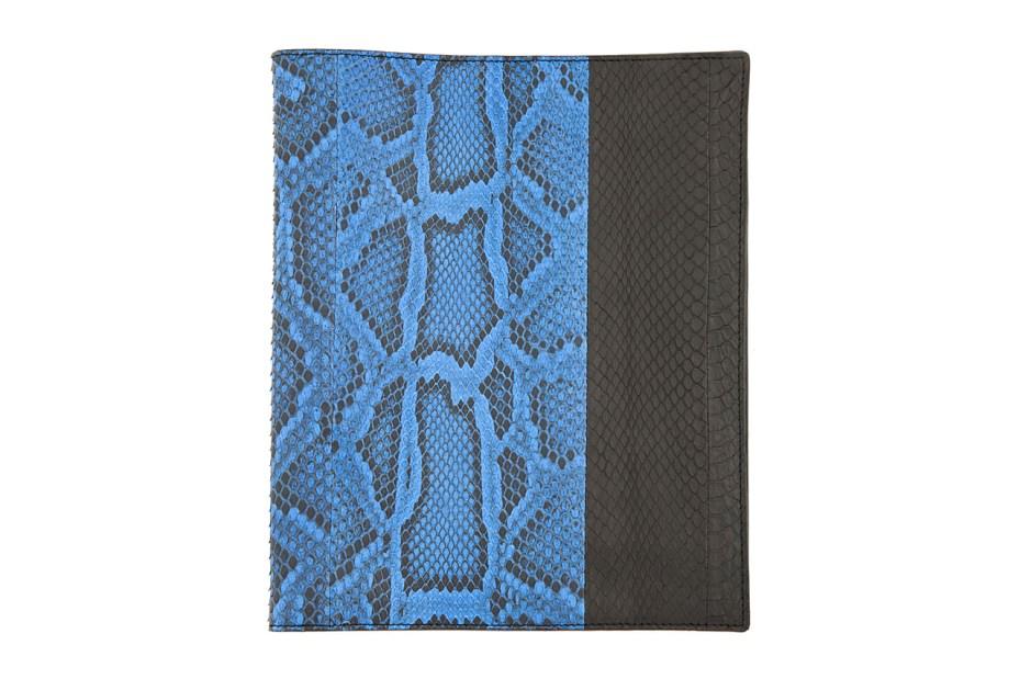 Image of Lanvin Black and Blue Pythonskin iPad Case