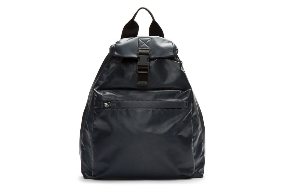 Image of Lanvin Charcoal Buffed Leather One-Strap Backpack