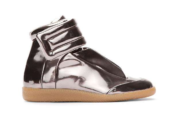 Image of Maison Martin Margiela Metallic Pewter Leather Sneakers