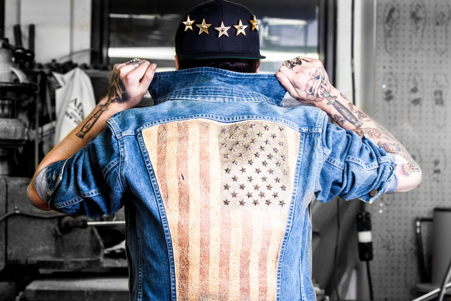 "Image of Modern Vice ""Rebel Yell"" Star-Studded Jean Jacket"