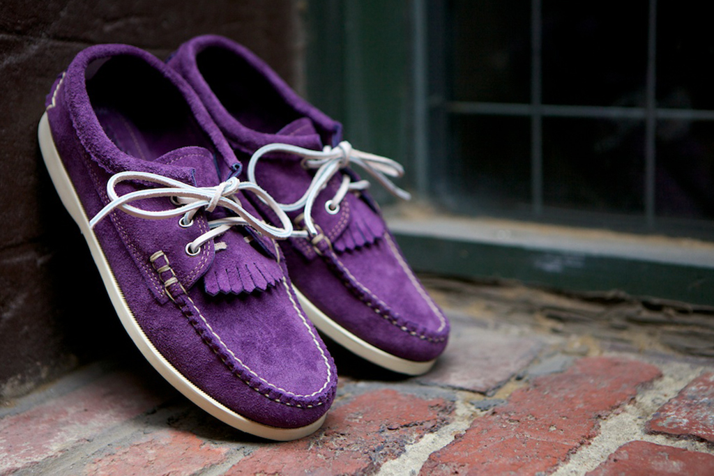 "Image of Yuketen 2013 Spring/Summer Blucher Kiltie Shoe ""Lilac"" and ""Multi"""