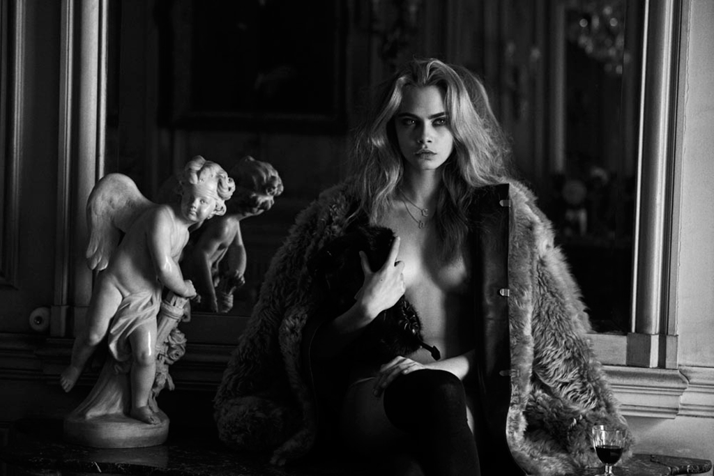 Image of Cara Delevingne for the April 2013 Issue of Interview Magazine (NSFW)