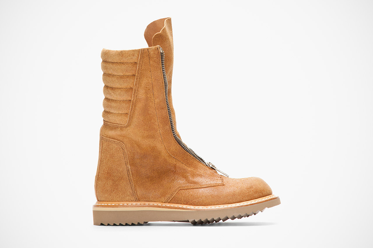 Image of Rick Owens Tan Brushed Suede Zippered Limo Boots