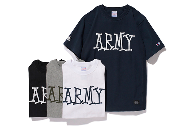 Image of Stussy x Champion Reverse Weave Army Tee