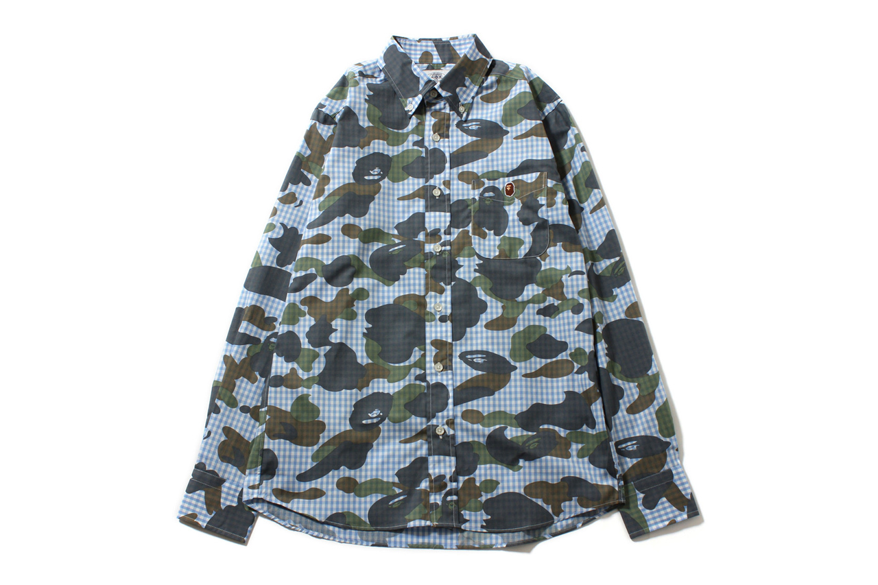 Image of A Bathing Ape 2013 Spring/Summer 1ST CAMO X GINGHAM CHECK SHIRT