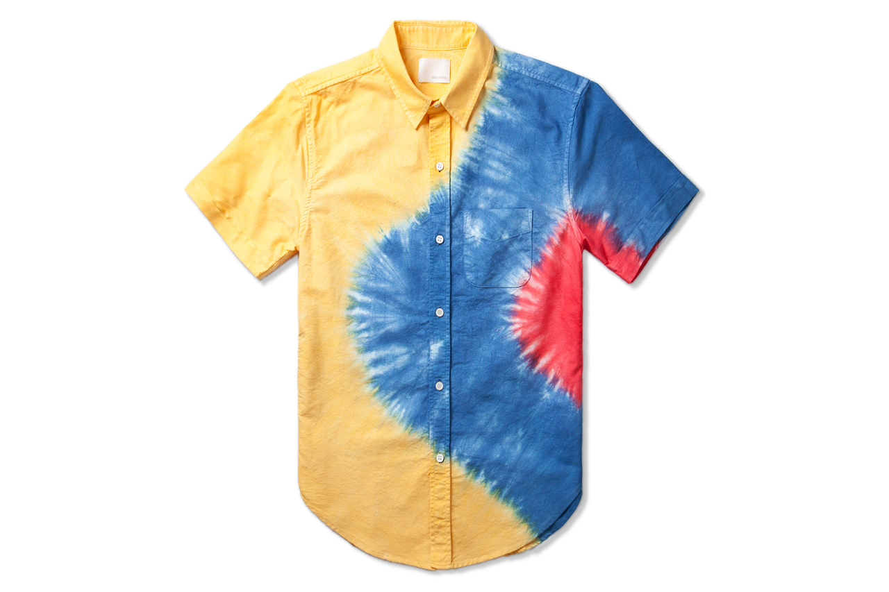 Image of Band of Outsiders Lemon Engineered Rainbow Tie-Dye Shirt