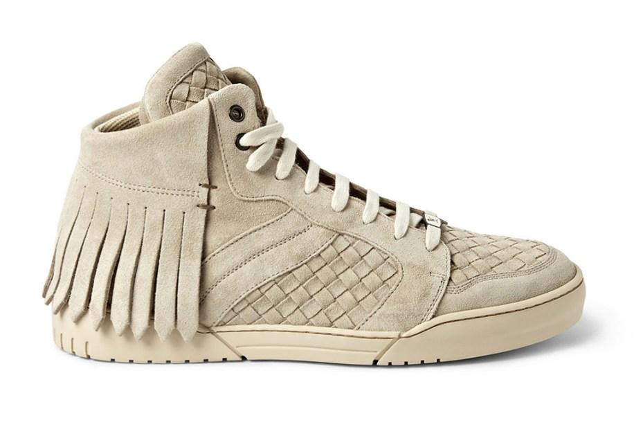 Image of Bottega Veneta Fringed Intrecciato Suede Sneakers