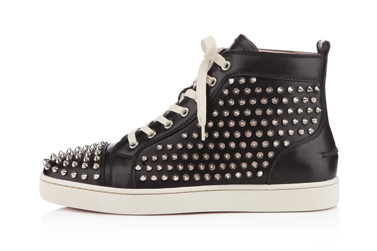 Image of Christian Louboutin Louis Spikes Flat Black/Silver