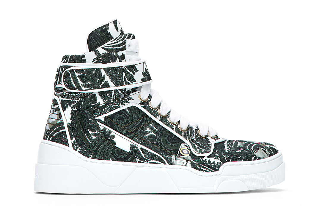 Image of Givenchy Green Paisley Print High-Top Sneakers