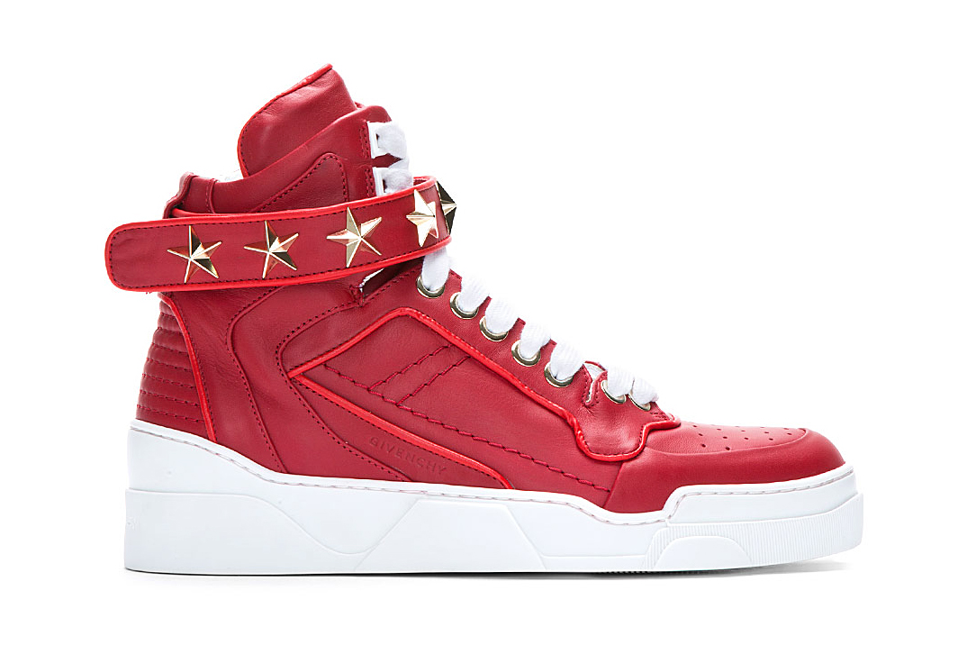 Image of Givenchy Red Leather Star-Detail Sneaker