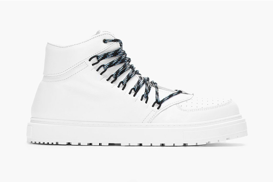 Image of KRISVANASSCHE White Leather Elastic-Eyelet Sneakers