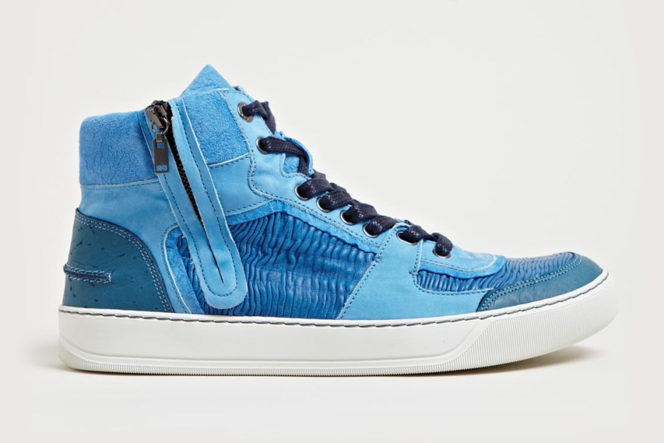 Image of Lanvin Mid High Basket Sneakers Blue