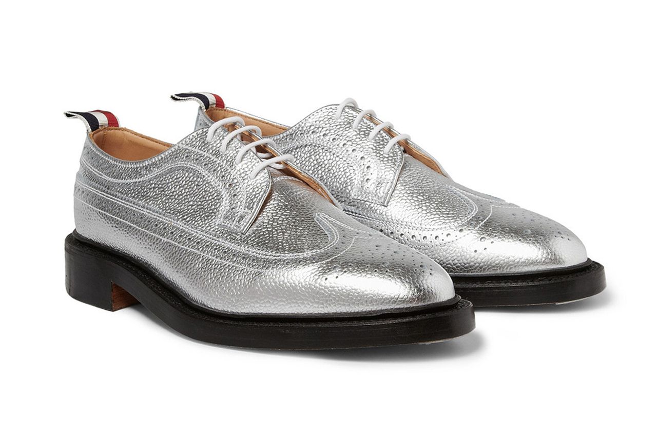 Image of Thom Browne Metallic Leather Longwing Brogues