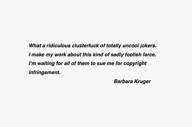 Image of Barbara Kruger Weighs In on the Supreme Lawsuit Against Married To The Mob