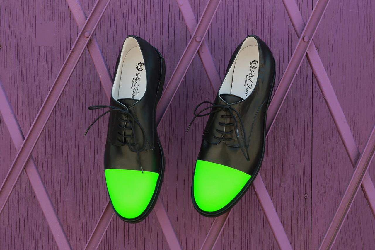 Image of Del Toro 3M Neon Green Toe Cap Oxford