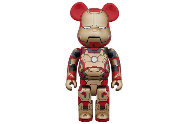 "Image of Iron Man 3 x Medicom Toy ""Mark XLII"" 400% & 1000% Bearbricks"