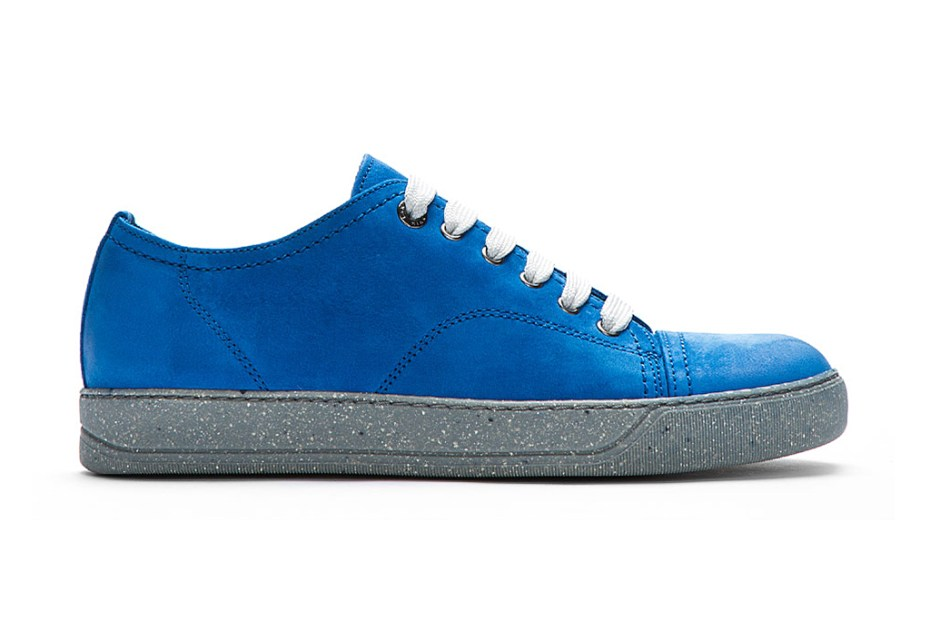 Image of Lanvin Blue Suede Deconstructed Sneaker