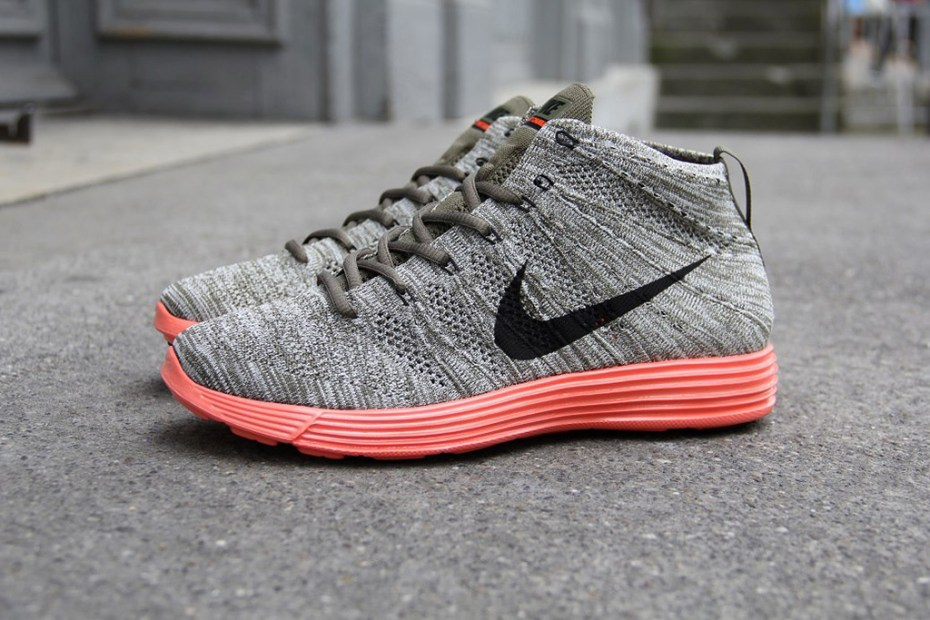 Image of Nike Lunar Flyknit Chukka Tarp Green/Black Sail-Total Crimson
