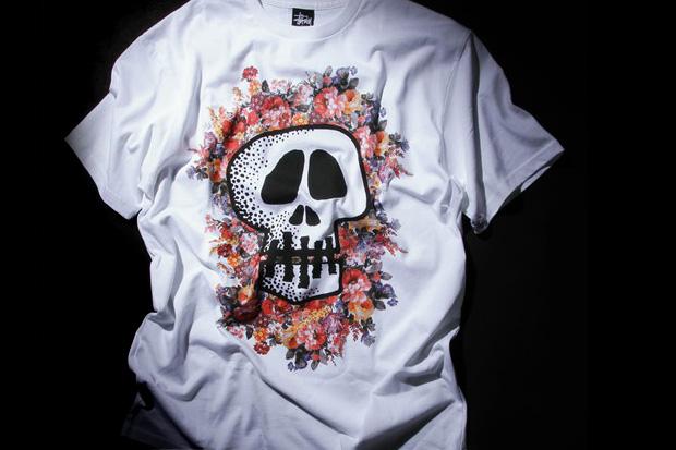 Image of Stussy Floral Skull T-Shirt