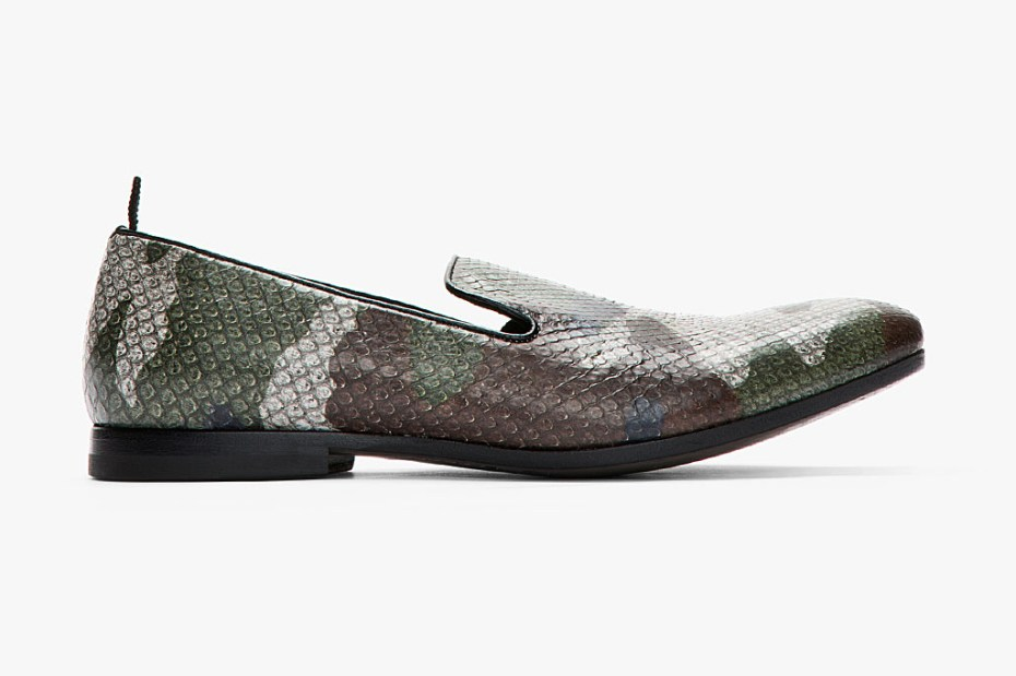 Image of Alexander McQueen Grey Camo Print Python Leather Loafers
