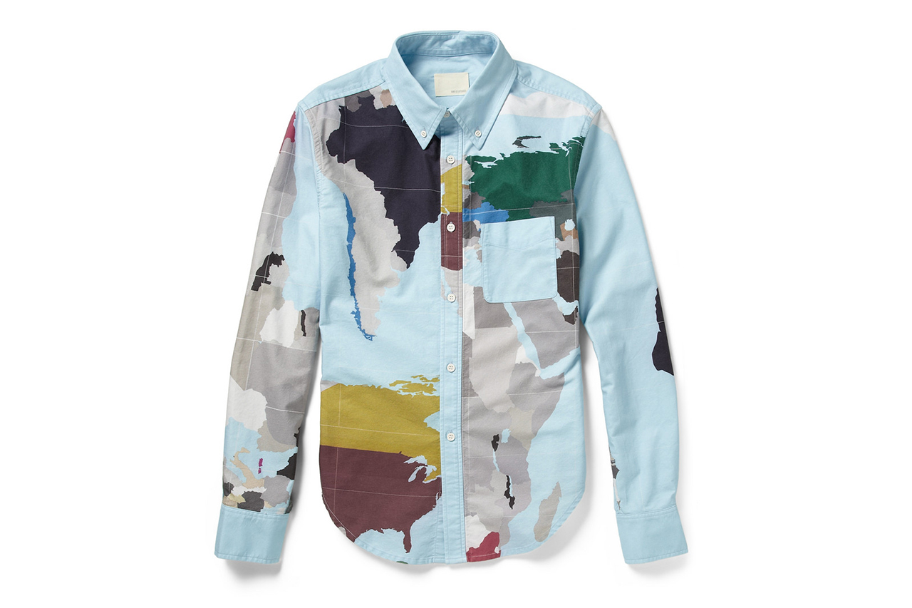 "Image of Band of Outsiders ""Map Print"" Cotton Shirt"