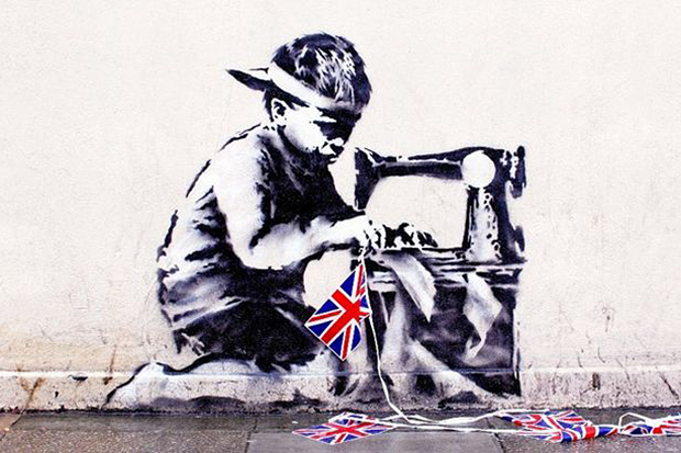 Image of Banksy's Union Jack 'Slave Labour' Mural Sells for $1.1 Million USD at Private Auction