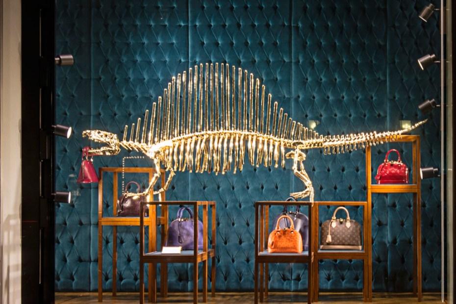 Image of Gilded Dinosaur Skeleton Installation at Louis Vuitton New York
