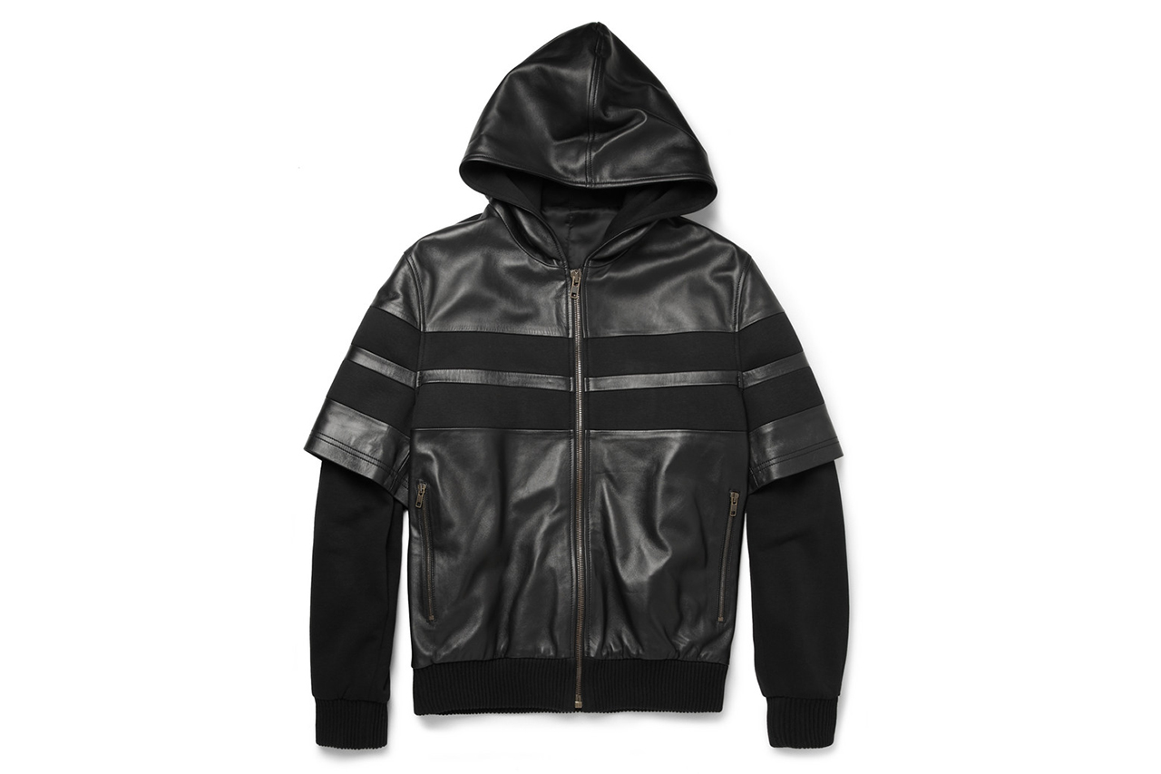 Image of Givenchy 2013 Fall/Winter Double-Sleeved Leather-Stripe Cotton Bomber Jacket