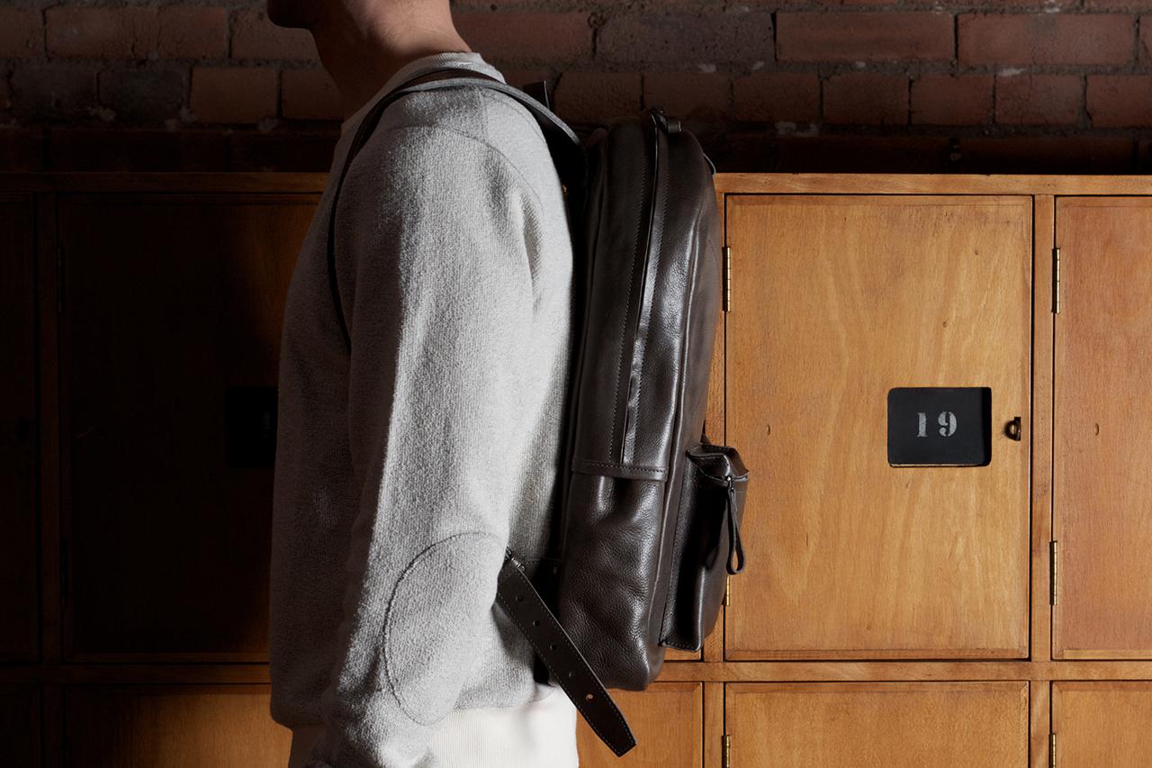 Image of hard graft Old School Leather Rucksack/Backpack Smoke