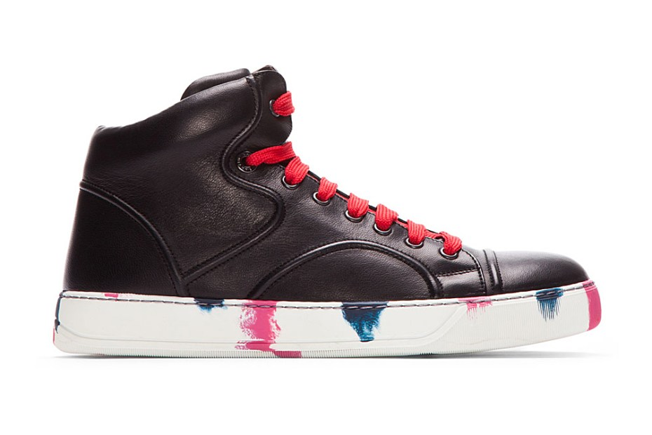 Image of Lanvin Black Leather Painted Mid-Top Sneakers