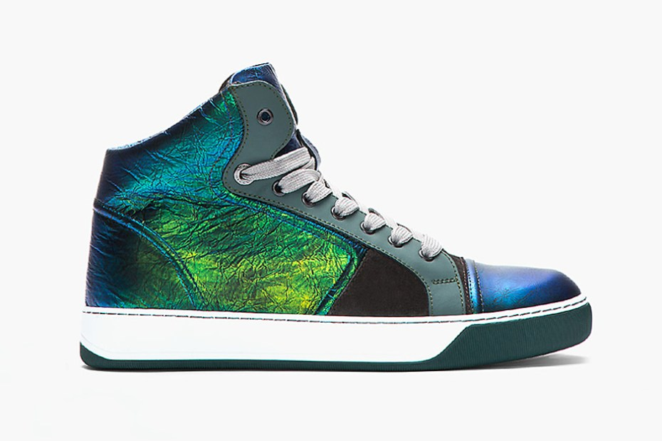 Image of Lanvin Green and Blue Iridescent Leather Sneaker
