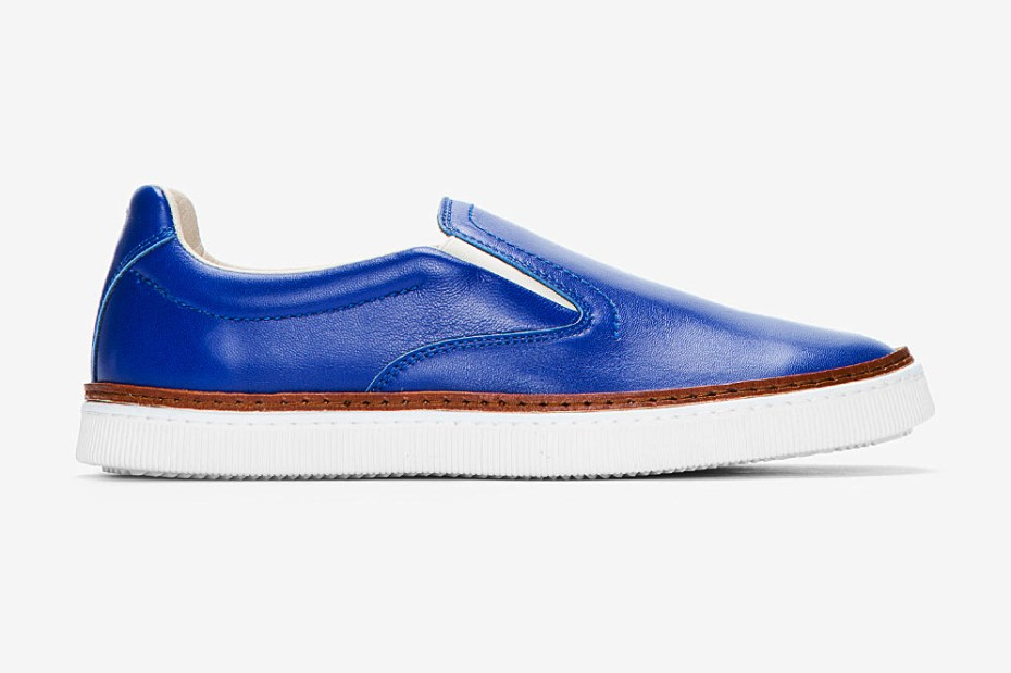 Image of Maison Martin Margiela Royal Blue Buffed Leather Slip-On