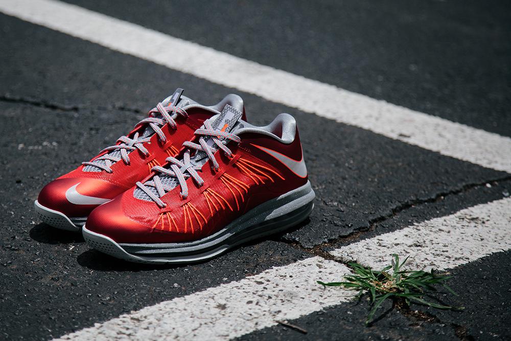 Image of Nike Air Max LeBron X Low University Red/Pure Platinum