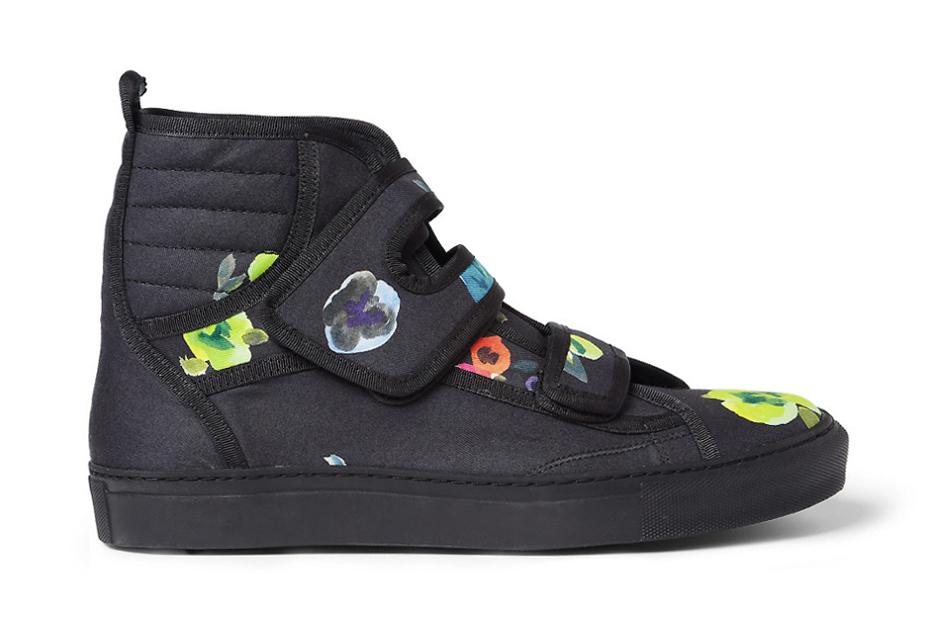 Image of Raf Simons Flower Print High Top Sneakers