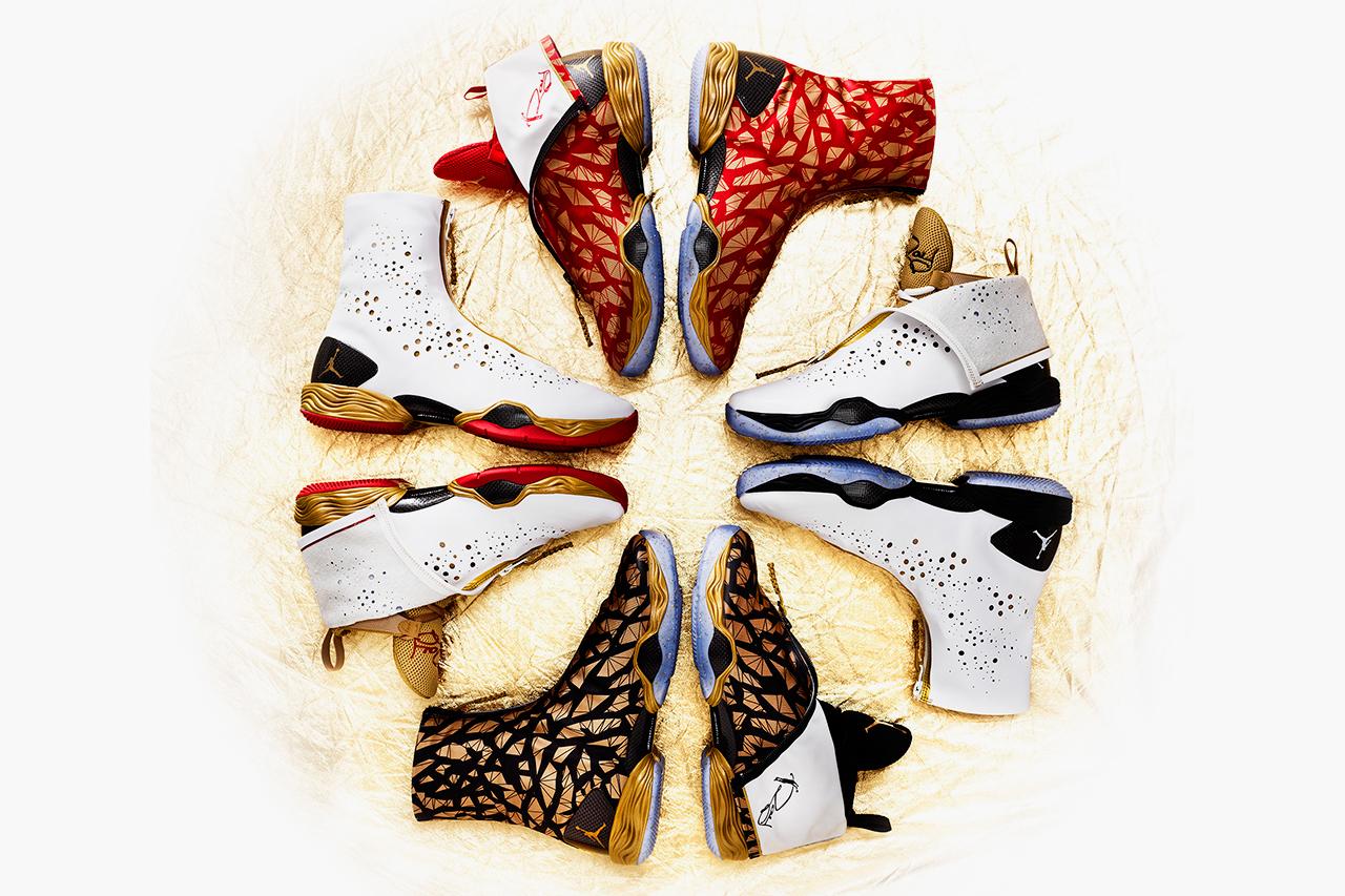 Image of Ray Allen's Golden Air Jordans for the 2013 NBA Finals