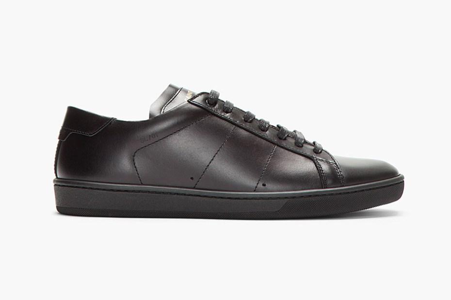 Image of Saint Laurent Black Leather Classic Sneakers